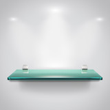 Glass shelves with spot light