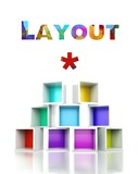 Layout concept, colorful 3d design illustration
