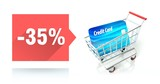 Minus 35 percent sale, credit card and shopping cart