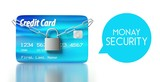 Money security. credit card with padlock and chain