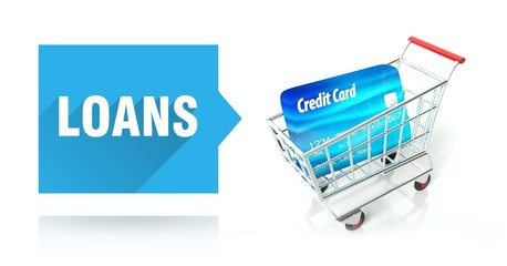 Loans concept. credit card and shopping cart