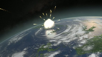 Asteroid hitting Earth exploding and dislocating clouds