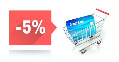 Minus 5 percent sale, credit card and shopping cart
