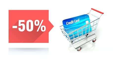 Minus 50 percent sale, credit card and shopping cart