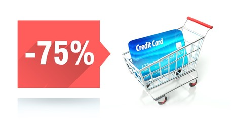 Minus 75 percent sale, credit card and shopping cart