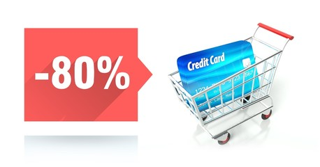 Minus 80 percent sale, credit card and shopping cart