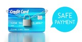 Safe payment. credit card with padlock and chain