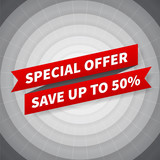 vector special offer banner on black circle background