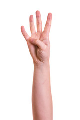 Hand zeigt vier Finger
