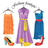 Three  silk dresses with shoeses.Fashion boutique
