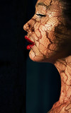 Fancy Make-up. Openwork Lace on Woman's Face