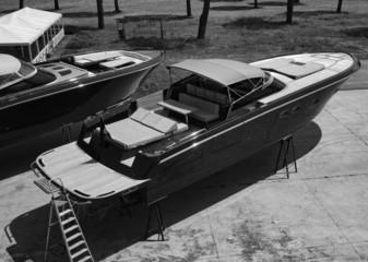 Italy, Fiumicino, luxury yachts ashore in a boatyard
