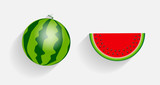 Watermelon Icons with Long Shadows Vector Illustration