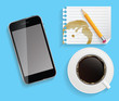 Coffee Cup with Abstract Tablet Vector Illustration on Business