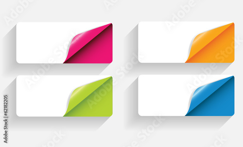Banners with Different Corner and Place for Text. Vector Illustr