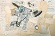 antique accessories, old letters and postcards. ephemera
