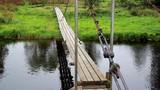 Hanging bridge and flowing water