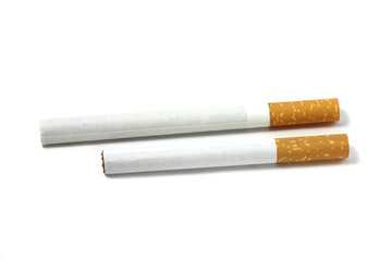 two filter cigarettes on white background
