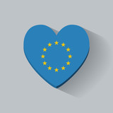 Heart-shaped icon with flag of European Union