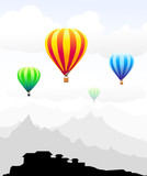 Beauty of Air Balloons on Mountain City-Vector