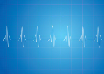 Heart Beat On Blue Background