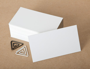 Blank business cards with clip