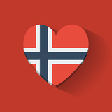 Heart-shaped icon with flag of Norway