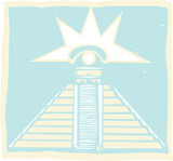 Mayan Pyramid with Venus Eye Glyph poster