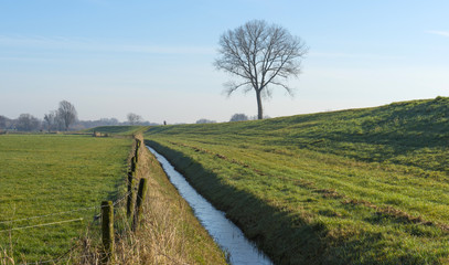 Ditch through the countryside in winter