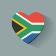 Heart-shaped icon with flag of South Africa