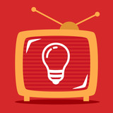 retro television shows on the screen light bulb