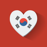 Heart-shaped icon with flag of South Korea