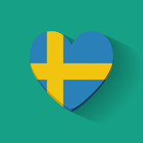 Heart-shaped icon with flag of Sweden