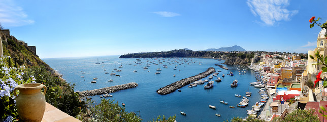 beautiful panoramic view of Procida