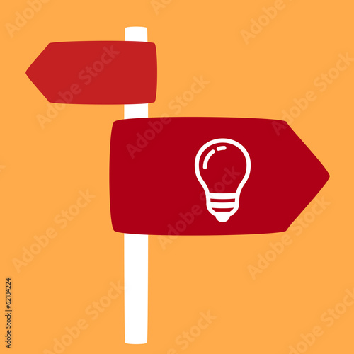 street sign with a light bulb