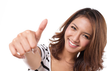 beautiful, attractive, friendly, smiling woman giving thumb up
