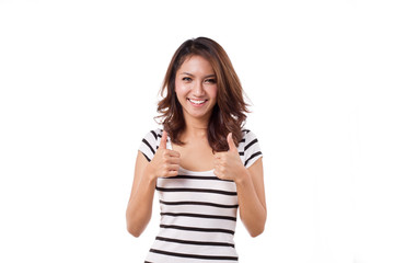 beautiful, friendly, smiling woman giving two thumbs up