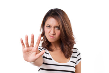 woman with stop, reject, refuse, forbid, negative hand sign