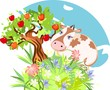 Cute cow with a flower and apple tree