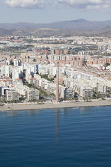 Aerial view of a residential area in Malaga near the beach.