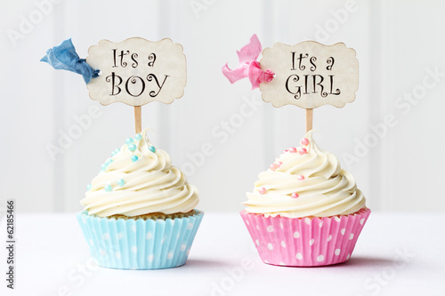 Keuken foto achterwand Koekjes Baby shower cupcakes