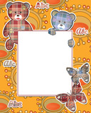 Cute kids frame with bears on yellow