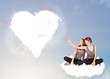 Beautiful lovely women sitting on cloud with heart