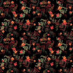 Seamless floral roses pattern on black