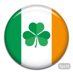 flag of ireland with shamrock badge