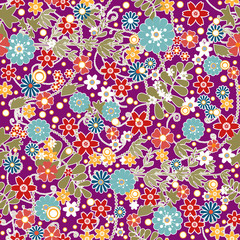 Floral seamless pattern with colorful flowers texture