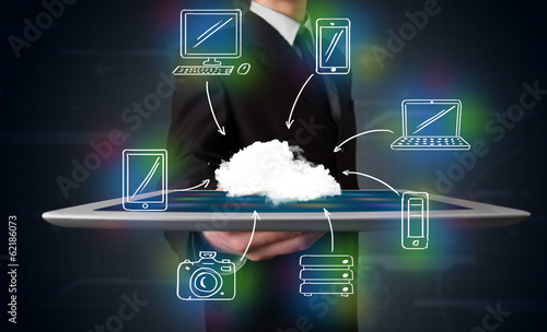 canvas print picture Businessman showing hand drawn cloud computing