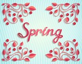 Spring card with floral pattern and calligraphic inscription