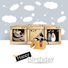 Happy Birthday dog birds gift card