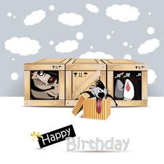Happy Birthday dog birds gift card
